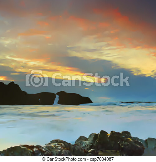 Sky, sea and mountains background. Vector - csp7004087