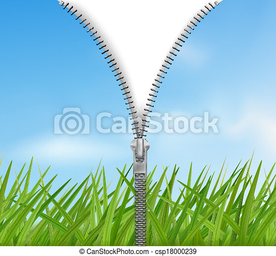 Sky with grass background with zipper. Vector. - csp18000239