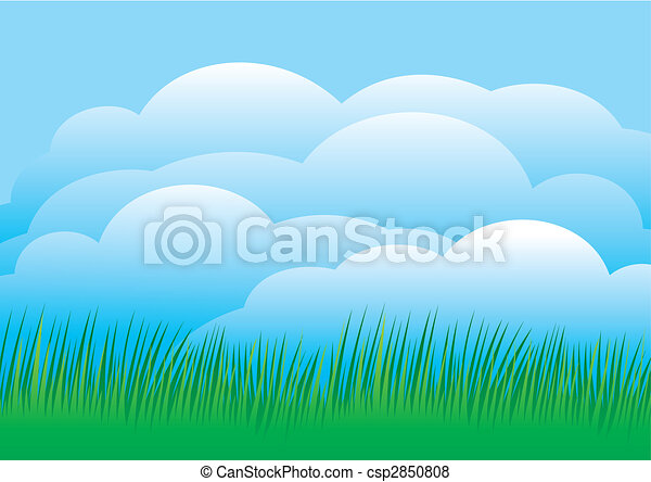 Sky with grass vector - csp2850808