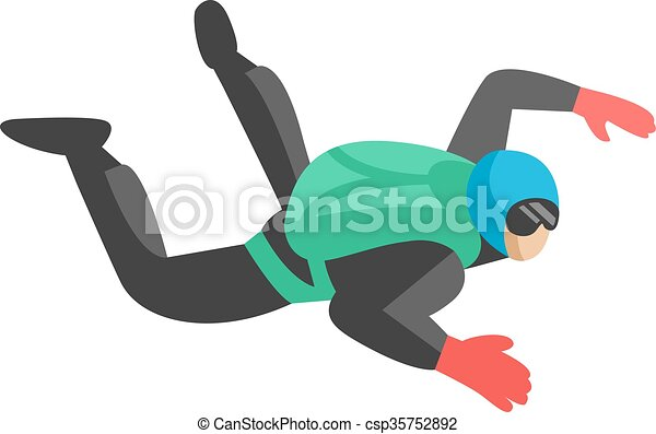Skydiver man parachutist foreground extreme sport freedom concept flat character vector. - csp35752892