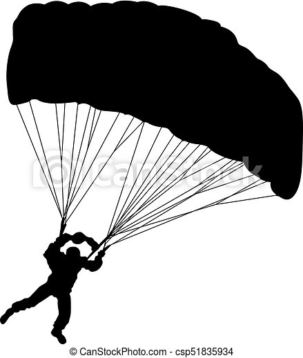 skydiver silhouettes parachuting vector illustration skydiver rh canstockphoto com parachute vector free download parachute vector graphics