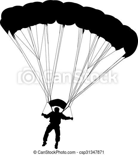 skydiver silhouettes parachuting vector the skydiver vectors rh canstockphoto com parachute vector image parachute vector art
