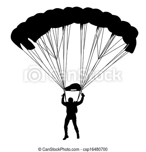 Skydiver, silhouettes parachuting vector illustration - csp16480700