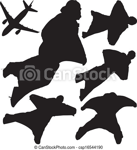 Skydivers vector silhouettes - csp16544190