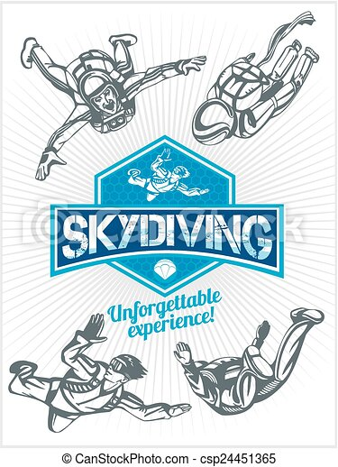 Skydiving. Vector set - emblem and skydivers. - csp24451365