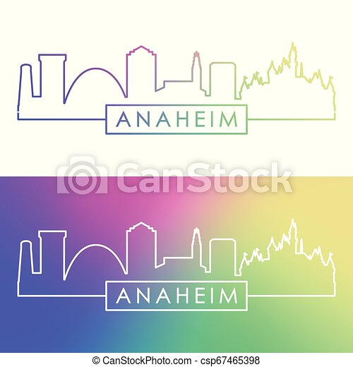 El horizonte de Anaheim. Estilo lineal colorido. - csp67465398