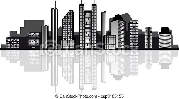 skyline città, moderno - csp3185155