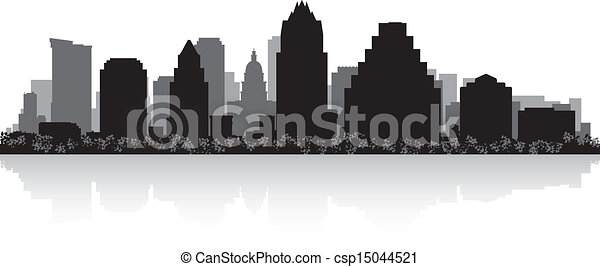 skyline città, silhouette, austin - csp15044521