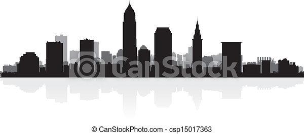 skyline città, silhouette, cleveland - csp15017363