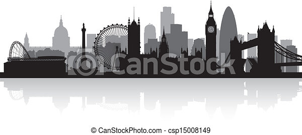 skyline città, silhouette, londra - csp15008149
