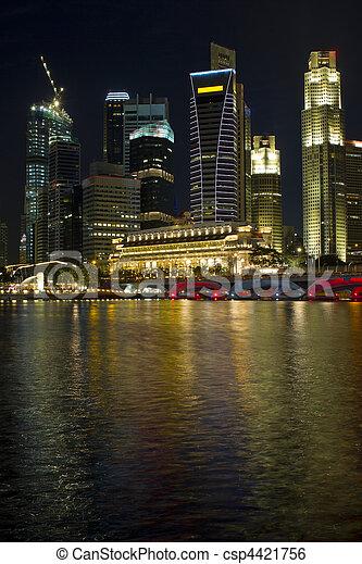 skyline città, singapore, notte - csp4421756