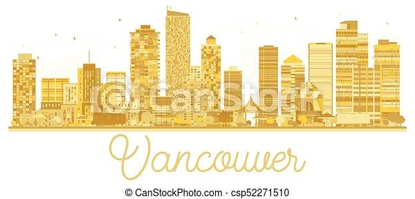 skyline città, vancouver, dorato, silhouette. - csp52271510