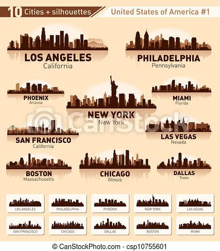 Skyline city set. 10 cities of USA #1 - csp10755601