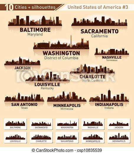 Skyline city set. 10 cities of USA #3 - csp10835539