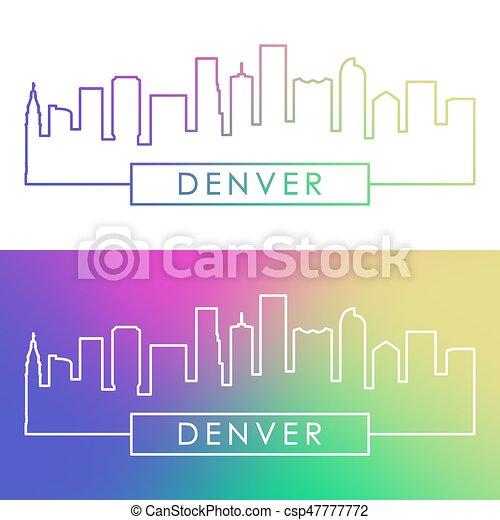 Skyline Denver. Estilo lineal colorido. - csp47777772