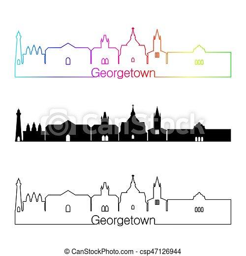 Georgetown Skyline linearer Stil mit Regenbogen - csp47126944