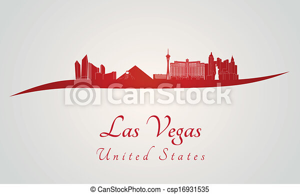 Las Vegas Skyline in Rot - csp16931535