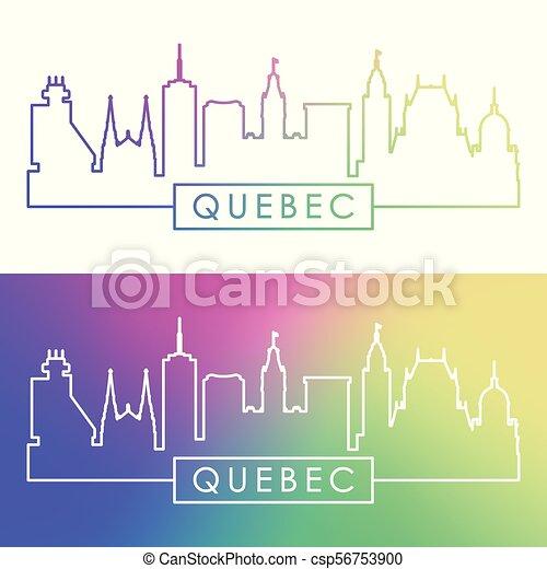 Skyline Quebec. Estilo lineal colorido. - csp56753900