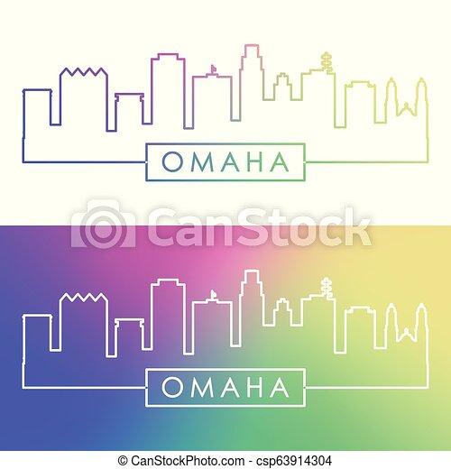 El horizonte de Omaha. Estilo lineal colorido. - csp63914304