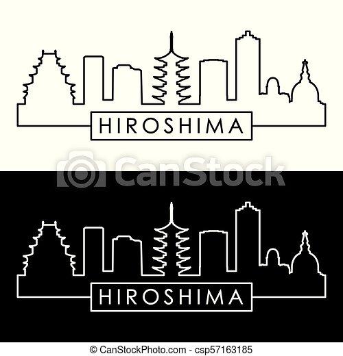 El horizonte de Hiroshima. Estilo lineal. - csp57163185