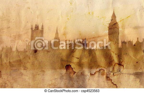 skyline, londen, stijl, artistiek - csp4523563