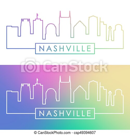 Nashville Skyline. Estilo lineal colorido. - csp49394607
