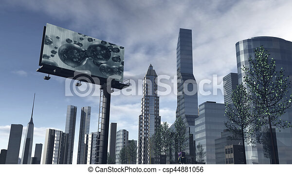 Skyline Of A Futuristic City With Video Screen