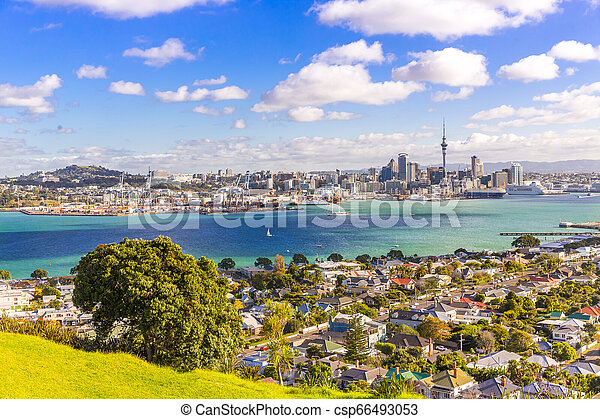 Skyline of Auckland, New Zealand - csp66493053