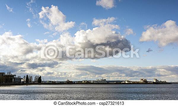 Skyline of cloudy sky in city port - csp27321613