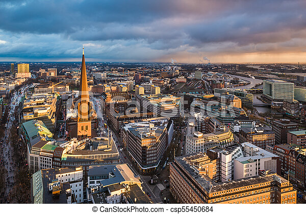skyline of hamburg germany aerial view of the skyline of hamburg germany. Black Bedroom Furniture Sets. Home Design Ideas