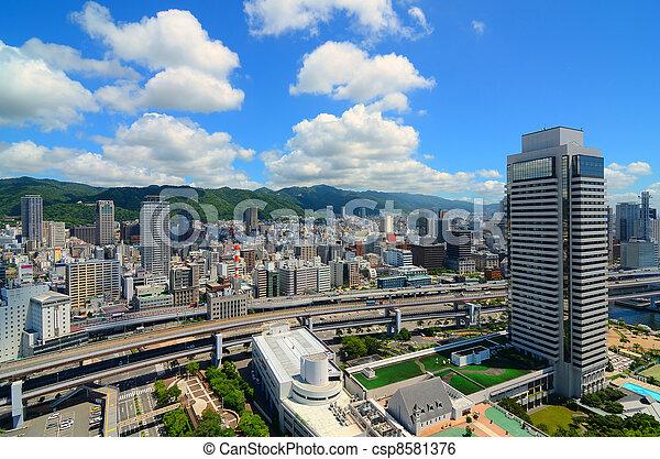 Skyline of Kobe, Japan - csp8581376