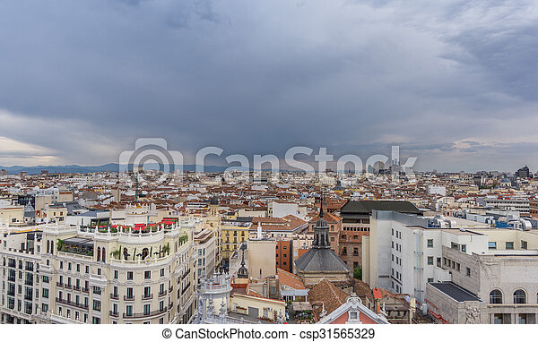 Skyline of Madrid in a cloudy day - csp31565329