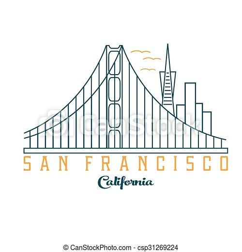 skyline of San Francisco vector design template - csp31269224