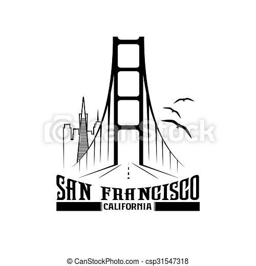 skyline of San Francisco vector design template - csp31547318