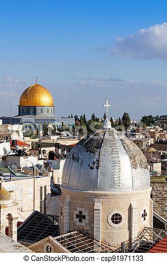 Skyline of the Old City in Jerusalem - csp91971133
