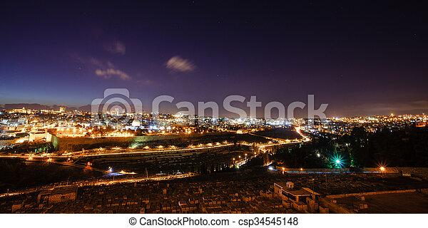 Skyline of the old city of Jerusalem, Israel. - csp34545148