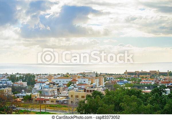Skyline Paphos sea sky Cyprus - csp83373052