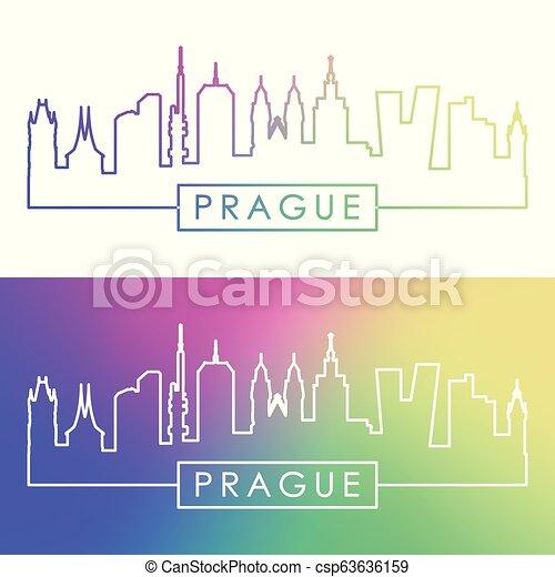 El horizonte de Praga. Estilo lineal colorido. - csp63636159