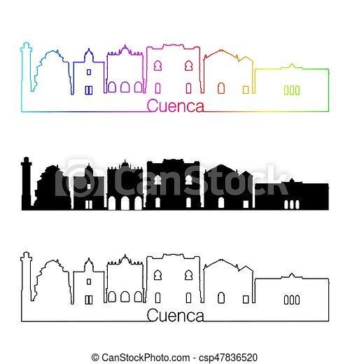 Cuenca skyline linearen Stil mit Regenbogen - csp47836520