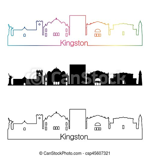 Kingston Skyline linearer Stil mit Regenbogen - csp45607321