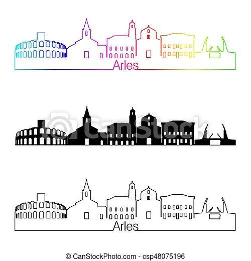 skyline, regenbogen, stil, linear, arles - csp48075196