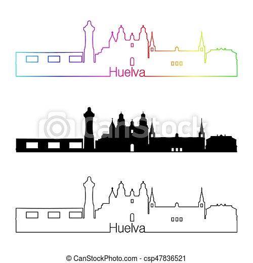 skyline, regenbogen, stil, linear, huelva - csp47836521