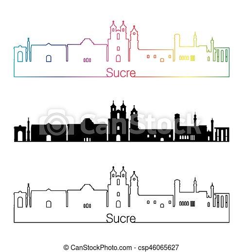 Sucre skyline linearen Stil mit Regenbogen - csp46065627