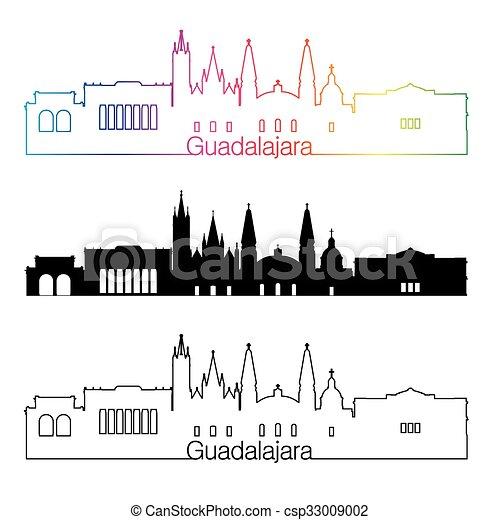 skyline, regenbogen, stil, linear, guadalajara - csp33009002