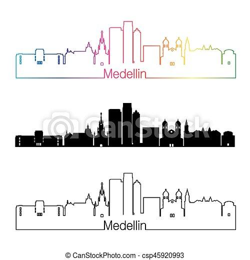 Medellin Skyline linearen Stil mit Regenbogen - csp45920993