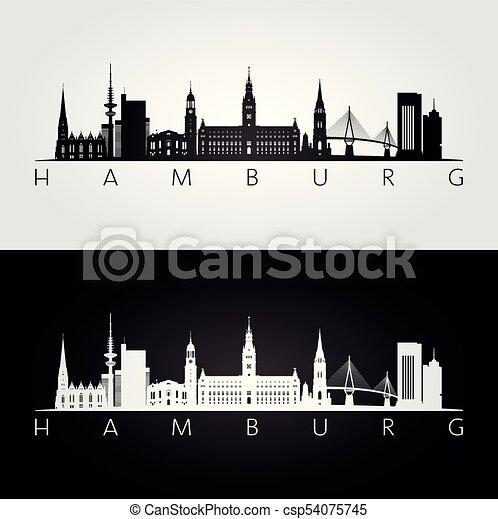 Skyline Silhouette Wahrzeichen Hamburg Illustration Wahrzeichen