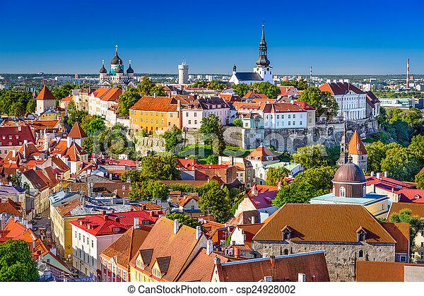 skyline, tallinn, estónia - csp24928002