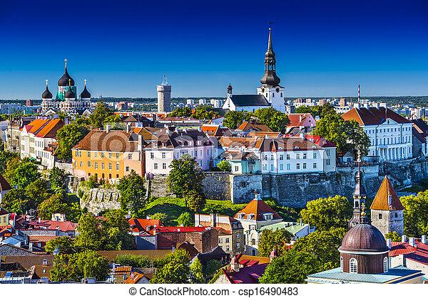 skyline, tallinn, estónia - csp16490483