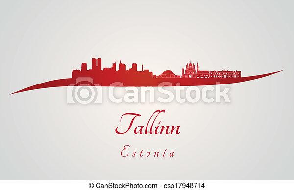 skyline, tallinn, vermelho - csp17948714