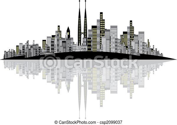 skyline, vetorial, fundo - csp2099037